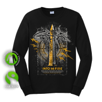 """Round Neck Longsleeve """"Into the Fire"""" Black"""